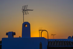 Spaans dak met antenne stock foto's