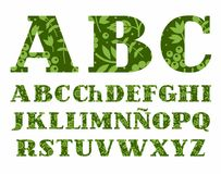 Spaans groen alfabet, bessen en kruiden, vector Stock Fotografie