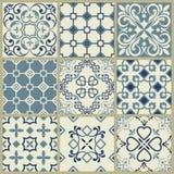 Spaans of Portugees vectortegelpatroon, het bloemenmoza?ek van Lissabon, Mediterraan naadloos marineblauw ornament Sier tegel vector illustratie