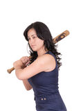 Spaanse bedrijfsvrouw met honkbalknuppel in handen Royalty-vrije Stock Foto's