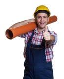 Spaanse bouwvakker met waterpijp die duim tonen Stock Fotografie