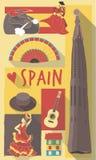 Spaanse culturele pictogrammen op reisaffiche Royalty-vrije Illustratie