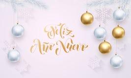 Spaanse de decoratie gouden witte groet van Nieuwjaarfeliz ano nuevo stock illustratie