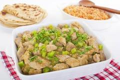 Spaanse de Rijsttortilla's van Chili Verde Green Mexican Food Stock Fotografie