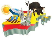 Spaanse de toeristenaantrekkelijkheden van de illustratie in Spanje Stock Fotografie