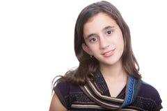 In Spaanse die tiener op een witte achtergrond wordt geïsoleerd royalty-vrije stock foto's