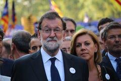 Spaanse eerste minister Mariano Rajoy bij manifestatie tegen terrorisme stock foto