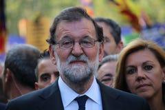 Spaanse eerste minister Mariano Rajoy bij manifestatie tegen terrorisme royalty-vrije stock afbeeldingen