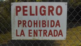 Spaanse entrada van La van tekenpeligro Prohibida Royalty-vrije Stock Foto's