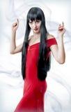Spaanse in het rode kleding dansen Stock Afbeeldingen