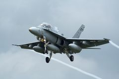 Spaanse Horzel F-18 jetfighter Royalty-vrije Stock Afbeeldingen