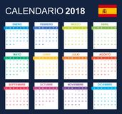 Spaanse Kalender voor 2018 Planner, agenda of agendamalplaatje Het begin van de week op Maandag Royalty-vrije Stock Foto's