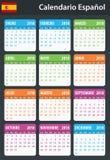 Spaanse Kalender voor 2018 Planner, agenda of agendamalplaatje Het begin van de week op Maandag Royalty-vrije Stock Afbeeldingen
