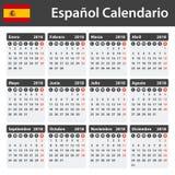 Spaanse Kalender voor 2018 Planner, agenda of agendamalplaatje Het begin van de week op Maandag Royalty-vrije Stock Foto