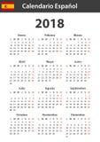 Spaanse Kalender voor 2018 Planner, agenda of agendamalplaatje Het begin van de week op Maandag Stock Foto's