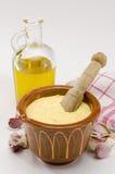 De Saus van de Mayonaise van het knoflook. Alioli. Royalty-vrije Stock Foto's