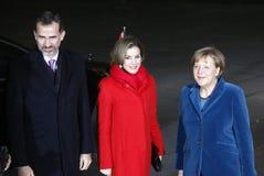 Spaanse Koning Felipe VI, Koningin Letizia, Kanselier Angela Merkel stock afbeelding