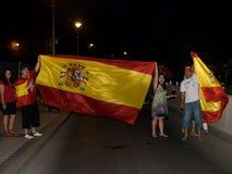 Spaanse mensen die de Worldcup overwinning vieren Royalty-vrije Stock Fotografie