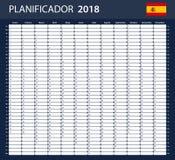 Spaanse Ontwerpersspatie voor 2018 Planner, agenda of agendamalplaatje Royalty-vrije Stock Fotografie