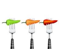 Spaanse peper die door vork wordt doordrongen Stock Afbeelding