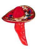 Spaanse peper die kleurrijke sombrero draagt Royalty-vrije Stock Foto's