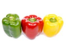 Spaanse peper drie, groen en geel Royalty-vrije Stock Foto's