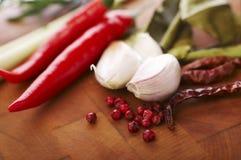 Spaanse peper en knoflook Royalty-vrije Stock Afbeeldingen