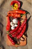 Spaanse peper en knoflook Royalty-vrije Stock Foto's