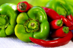 Spaanse peper en peper royalty-vrije stock foto's