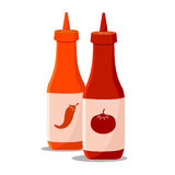 Spaanse peper en Tomatensaus Stock Foto