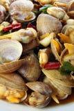 Spaanse peper gebraden tweekleppige schelpdieren Royalty-vrije Stock Foto