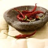 Spaanse peper in kom stock foto