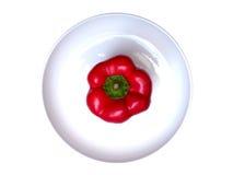 Spaanse peper op witte plaat Stock Fotografie