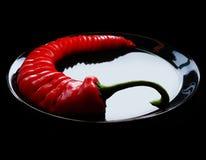 Spaanse peper op zwarte Royalty-vrije Stock Afbeelding