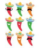 Spaanse peperpeper in Mexicaanse Sombrerohoed met snorpictogrammen Stock Foto