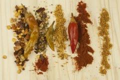 Spaanse pepers aan nette raad Hete kruiden, droge Spaanse pepers Royalty-vrije Stock Afbeelding