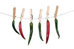 Spaanse pepers die op een kabel hangen Stock Foto's
