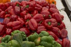 Spaanse pepers in een stapel royalty-vrije stock foto's