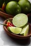Spaanse pepers en Kalk Royalty-vrije Stock Afbeelding