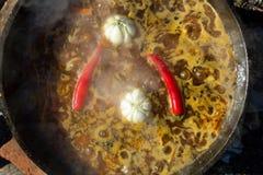 Spaanse pepers en knoflook in een ketel worden gekookt die Royalty-vrije Stock Fotografie