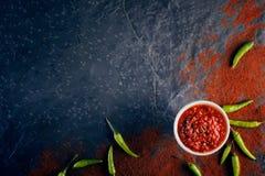 Spaanse pepers en knoflooksaus op donkere lei Royalty-vrije Stock Foto