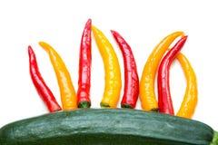 Spaanse pepers en Komkommer Stock Foto