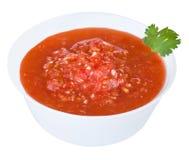 Spaanse pepersaus in witte plaat Stock Fotografie