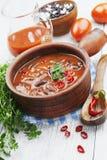 Spaanse pepersoep met rode bonen en greens Royalty-vrije Stock Afbeeldingen