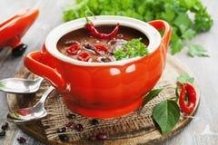 Spaanse pepersoep met rode bonen en greens Royalty-vrije Stock Foto's