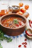 Spaanse pepersoep met rode bonen en greens Stock Foto's