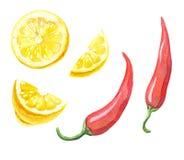 Spaanse peperspeper en citroen Royalty-vrije Stock Foto's