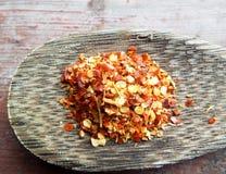 Spaanse peperstof op lepel Royalty-vrije Stock Foto