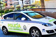 Spaanse politiewagen in San Pedro de Alcantara, Costa del Sol, Spanje Royalty-vrije Stock Foto's