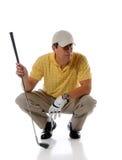 Spaanse rijpe golfspeler royalty-vrije stock foto